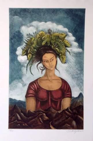 """Raul Anguiano """"Mujer con iguana"""""""
