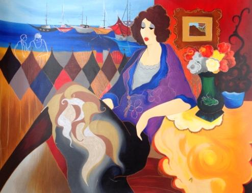 "Itzchak Tarkay ""La mujer del puerto"""